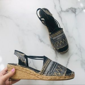 Anthro espadrille wedge pattern platforms